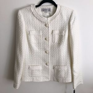 Tahari-Ivory White Tweed Pearl Blazer